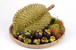 Ramboutan lappaceum Linn.), mangoustan (mangostana Linn (de Nephelium de Garcinia.) Et fruit de lanière de lundi de durian (durian Image stock