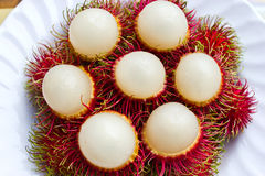 Rambutan. Close up rambutan in white dish Stock Image