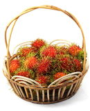 Rambutan in the Basket. Isolated Rambutan in the Basket Stock Photo