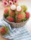 Rambutan in the basket. Fresh rambutan in the basket Stock Images