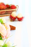 Rambutan in basket. On vintage style on retro background Royalty Free Stock Images