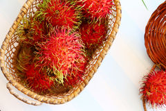 Rambutan in basket. On vintage style on retro background Stock Photography