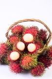 Rambutan in basket white background. Rambutan in basket on white background Royalty Free Stock Photography