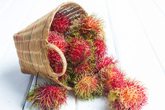 Rambutan. In basket on wood background Royalty Free Stock Photo