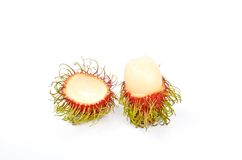 Rambutan close up. Tropical fruit Rambutan isolated on white background Royalty Free Stock Image