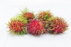 Rambutan, een fruit met zoete smaak en rode harige shell Stock Afbeelding