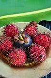 Rambutan en mangostan Stock Foto's