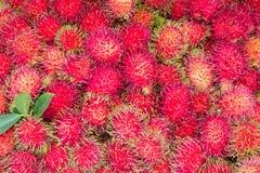 Rambutan fruit background. Fresh rambutan fruit in the market, Thailand Royalty Free Stock Images