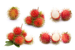 Rambutan fruit collection on white background.  Stock Photos