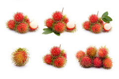 Rambutan fruit collection on white background.  Stock Photo