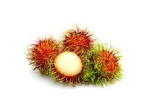 Rambutan fruit isolated on white background. Rambuta thailand fruit isolated on white background Royalty Free Stock Photos