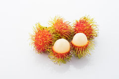Rambutan fruit isolated on white. Background Royalty Free Stock Images