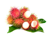 Rambutan fruit isolated on white background.  Royalty Free Stock Photography