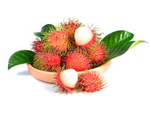 Rambutan fruit isolated on white background.  Royalty Free Stock Photo