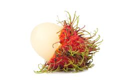 Rambutan fruit isolated on white background.  Stock Photos