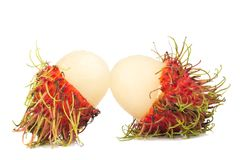 Rambutan fruit isolated on white background.  Royalty Free Stock Images