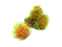 Rambutan fruit. With red shell on white background Stock Photography