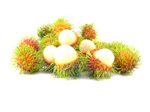 Rambutan fruit. With red shell on white background Stock Image