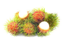 Rambutan fruit. With red shell on white background Stock Images