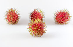 The Rambutan is fruit southern asian flavor sweet. Isolated on white Stock Images