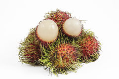 Rambutan. Is a fruit with sweet isolated on white background Royalty Free Stock Images