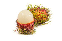 Rambutan. Is a fruit with sweet isolated on white background Royalty Free Stock Photography
