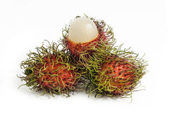 Rambutan. Is a fruit with sweet isolated on white background Royalty Free Stock Photo