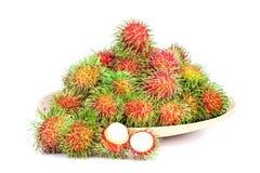 Rambutan fruit on white background. The rambutan fruit on white background Royalty Free Stock Photos