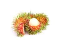 Rambutan fruit on white background. The rambutan fruit on white background Royalty Free Stock Images