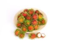 Rambutan fruit on white background. The rambutan fruit on white background Stock Image