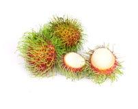 Rambutan fruit on white background. The rambutan fruit on white background Stock Images