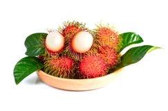 Rambutan fruit  on white background.  Stock Photos