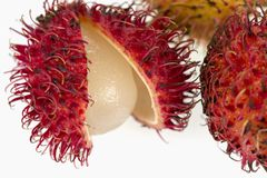 Studio shot of rambutan fruit. Rambutan fruit on a white background Royalty Free Stock Photo