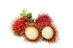 Rambutan fruits. Isolated on white background Royalty Free Stock Photography