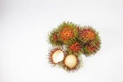 Rambutan fruits isolated on white background Stock Photos