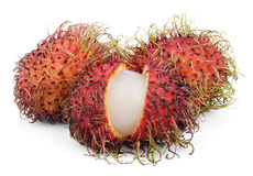 Rambutan fruits isolated on white Stock Photography