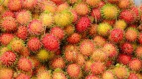 Rambutan fruits at a market in Mekong Delta. A lot of hairy rambutan fruits at a market in Mekong Delta, southern Vietnam Royalty Free Stock Image