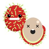 Rambutan grimacing face ghost emoji vector illustration Stock Photos