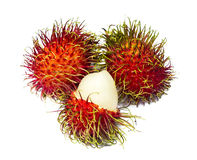 Rambutan isolated on white. Ready to eat Royalty Free Stock Photography