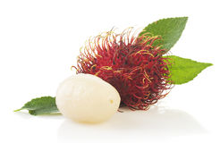 Rambutan isolated on white background. Rambutan with leaves  isolated on white background Royalty Free Stock Photo