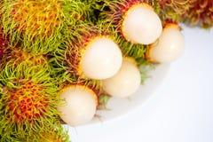 Rambutan isolated on white background. Rambutan sweet delicious fruit isolated on white background Royalty Free Stock Photo