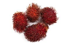 Rambutan isolated on white background. Tropical fruit. Nephelium lappaceum. Top view. Flat lay stock photography
