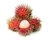 Rambutan isolated on white. Fresh rambutan isolated on white Royalty Free Stock Photos