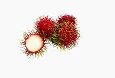 Rambutan Isolated On White. Fresh rambutan on white background Royalty Free Stock Photo