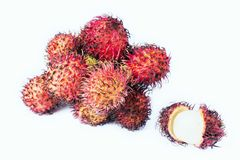 Rambutan isolated on the white. Background Royalty Free Stock Image