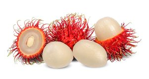 Rambutan isolato su bianco con il percorso di ritaglio fotografia stock libera da diritti