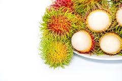 Rambutan isolato su priorità bassa bianca immagine stock libera da diritti