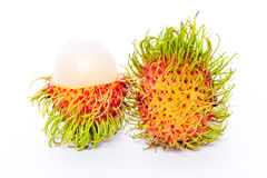 Rambutan isolato su priorità bassa bianca immagine stock