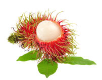 Rambutan with leaves isolated on white background. Rambutan with leaves isolated on a white background Stock Photos