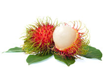 Rambutan with leaves isolated on white background. Rambutan with leaves isolated on a white background Stock Photo